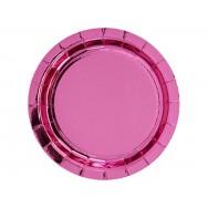 Тарелка фольгированная розовая 17см 6шт. (1502-4855)